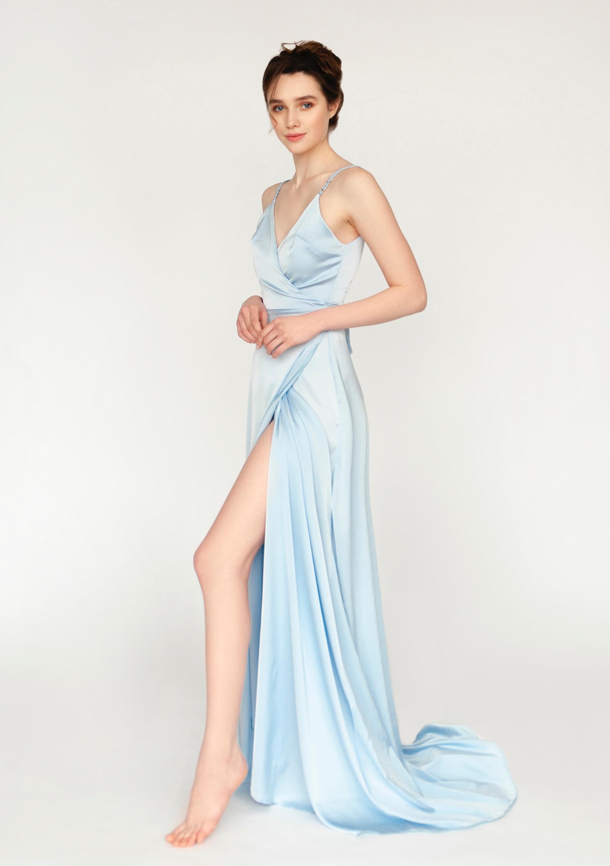 Sky blue dress / long wrap halter slip bridesmaid dress / asymetrical soft strap wedding guest dress / V shaped deep neckline grecian dress
