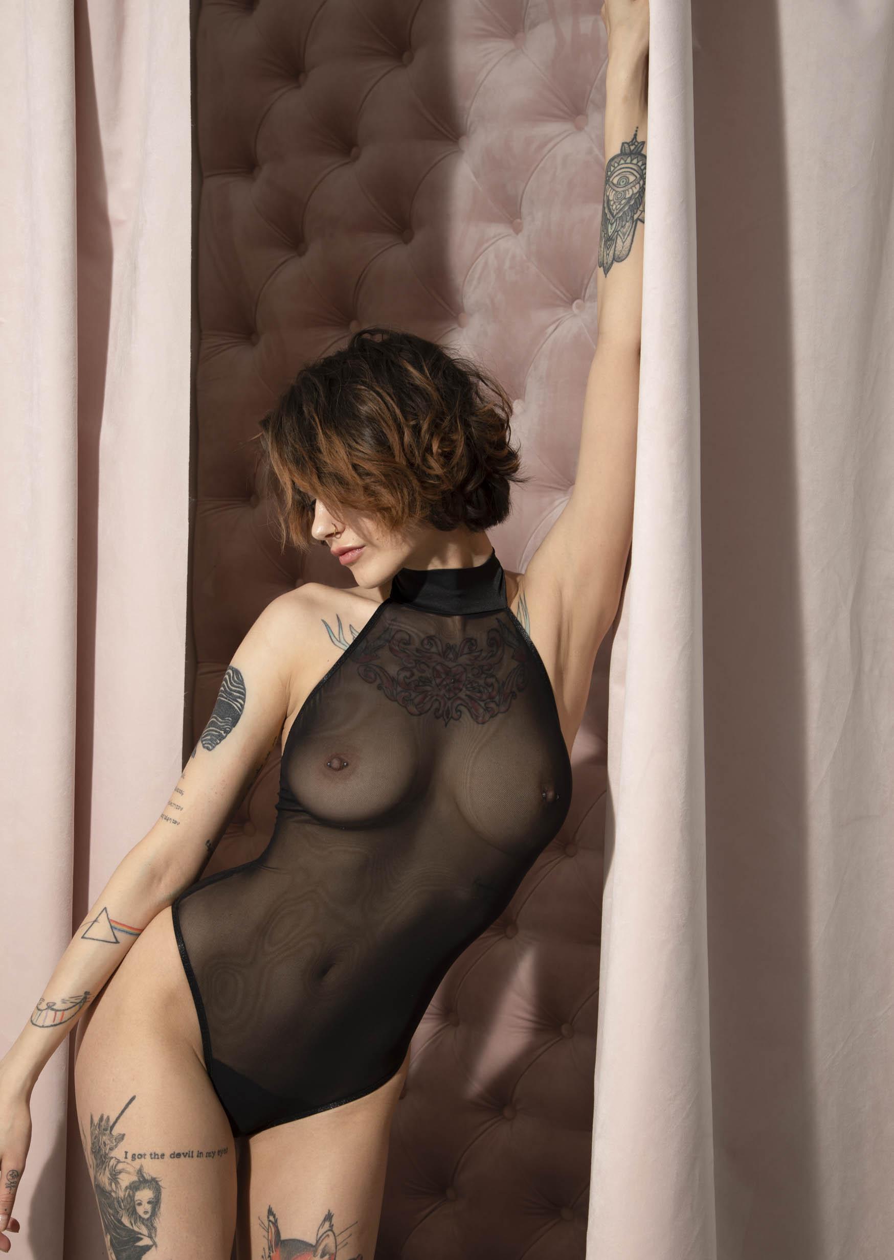 Solo body black net bodysuit sexy women's body