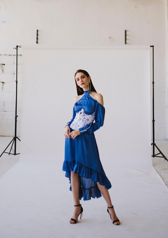 Blue ocean dress sexy backless bridesmaid dress