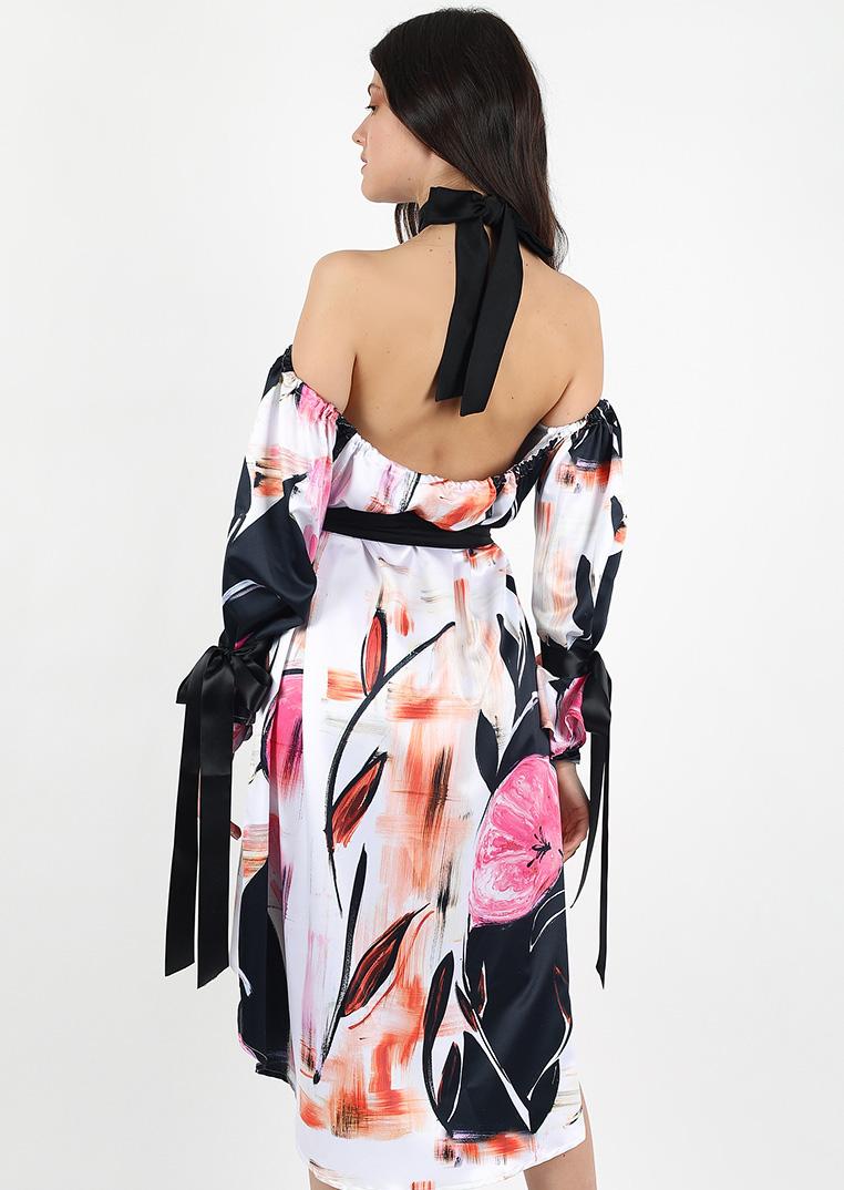 Watercolored flower dress / pink sexy backless bridesmaid dress / black high neck elegant collar bow dress / silk ribbons mini slip dress