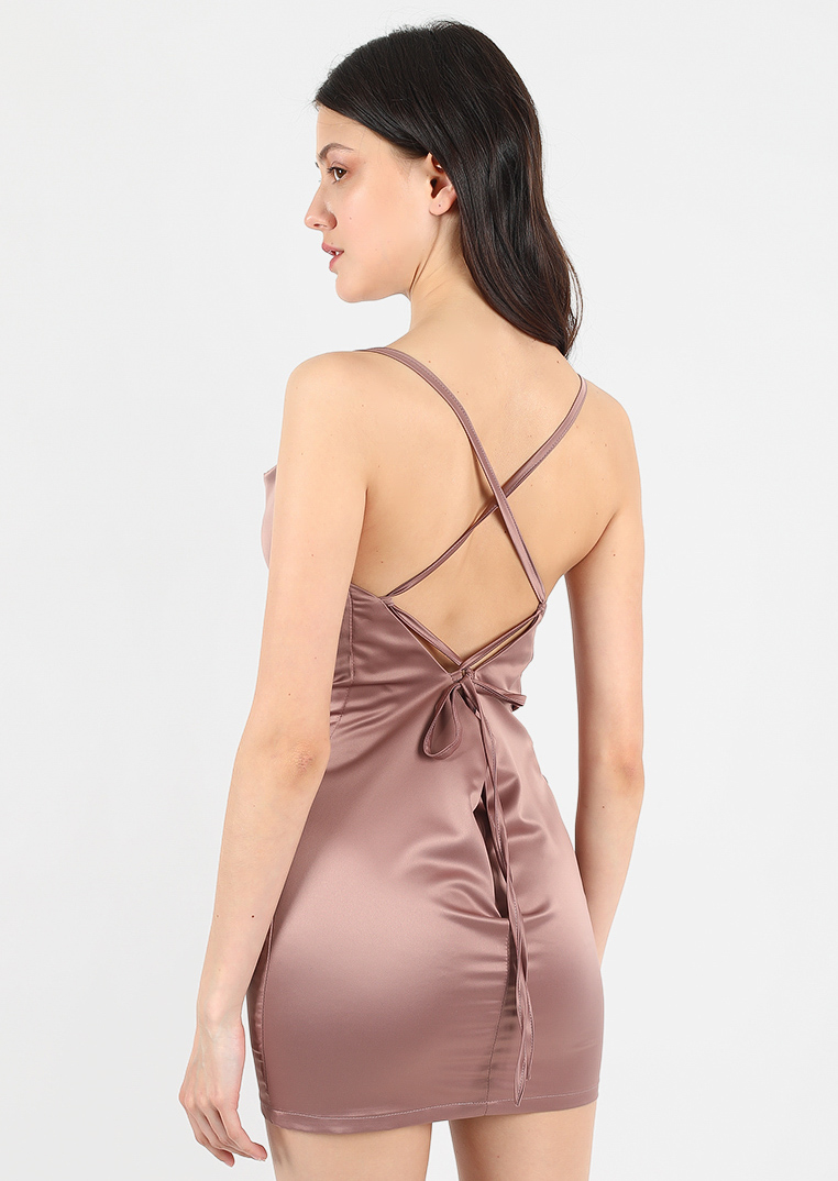 Chocolate dress / brown slip short bridesmaid classic dress / beige mini slip dress with flying cape / sexy french silhouette open back date