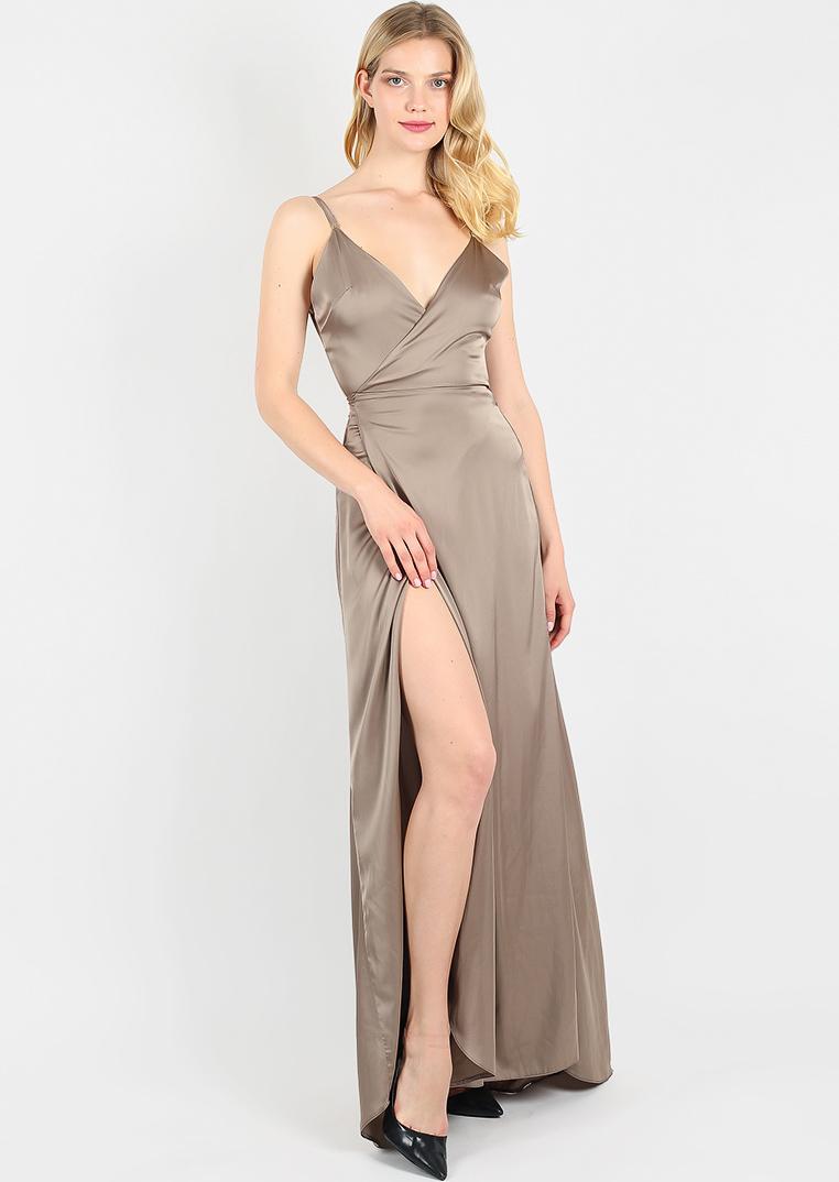 Sunset sky dress / long asymetrical silk slip dress / gold sexy grecian goddess dress / V shaped deep neckline wrap halter wedding dress