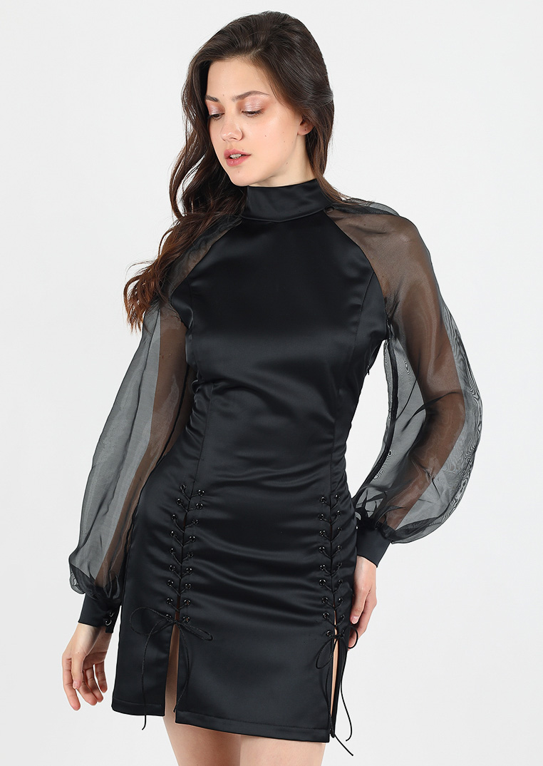 Black ink dress / sheer vintage bodycon party bridesmaid dress / clear total black sleeve photoshoot dress / elegant gatsby tango mini dress