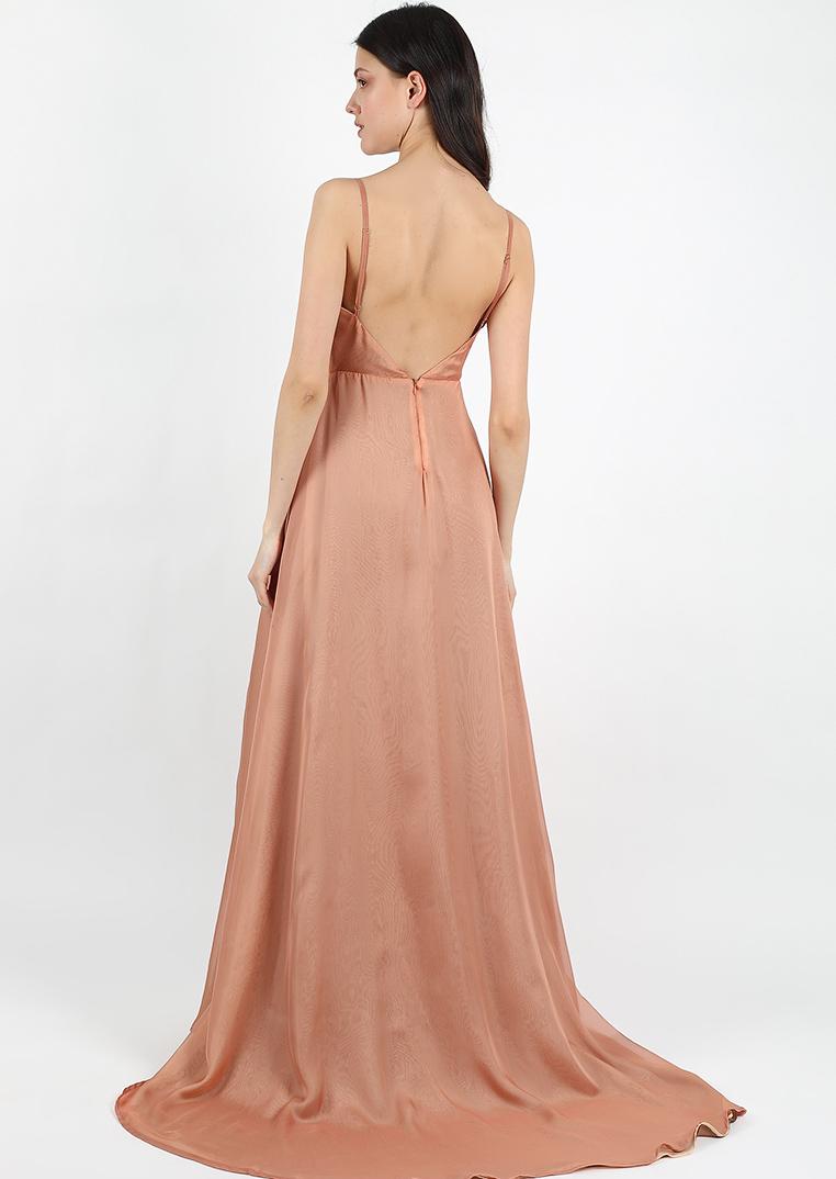 Caramel sunset dress / open back long slip bridesmaid dress / rose gold leg cut dress / beige V shaped neckline wrap halter wedding dress