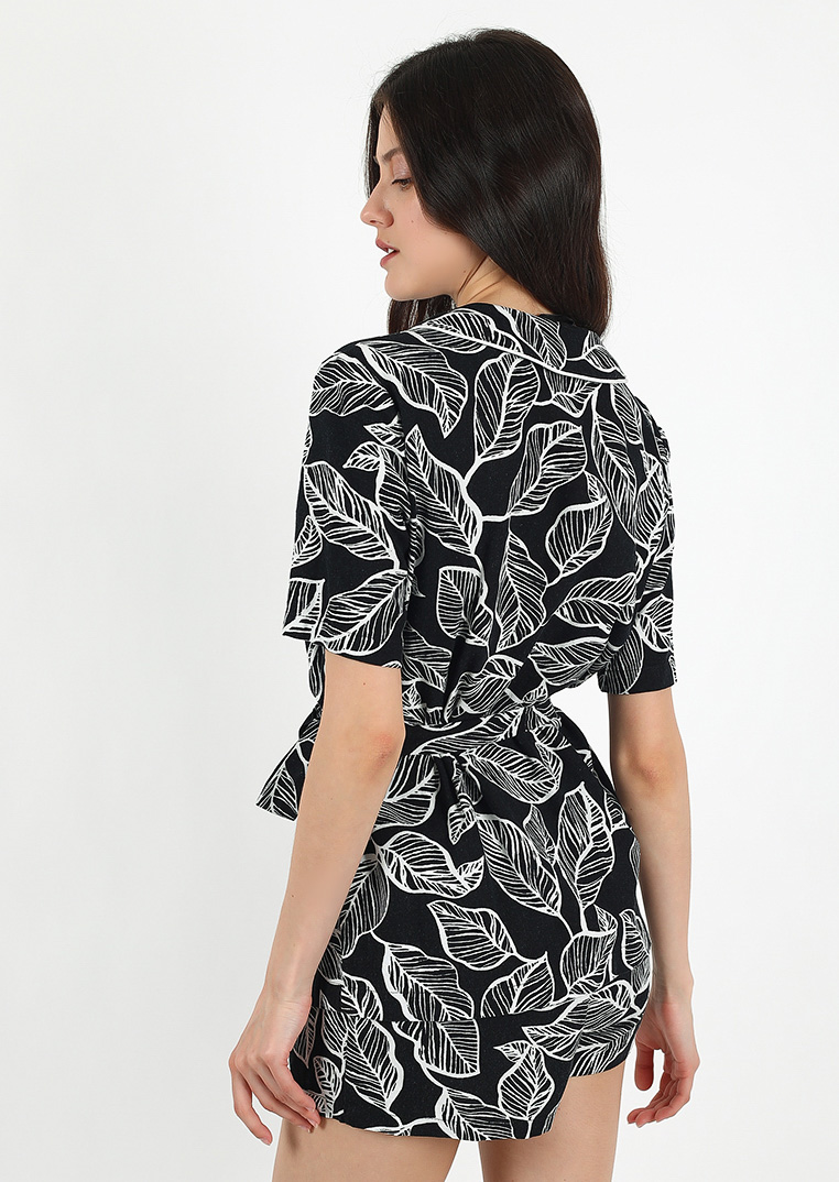 Botanical tattoo loungewear set / black organic pajama set with pattern / sleep shirt and shorts for women / linen sleepwear lounge set