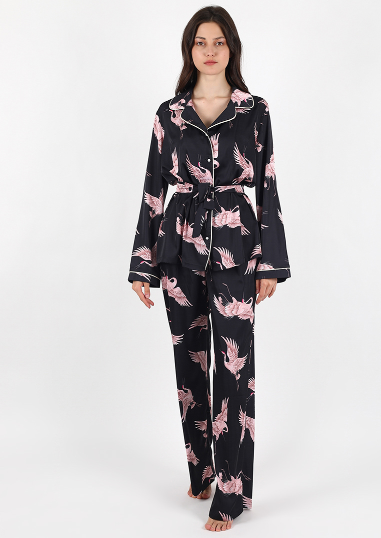 Black bird loungewear set / dark satin pajama with bird pattern / organic shirt with pants loungewear for women / nightgown sleepwear