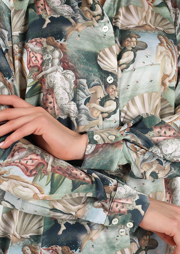 Venus loungewear set / satin pajama set for women with shirt and pants / sleepwear with venus pattern / cozy organic nightgown