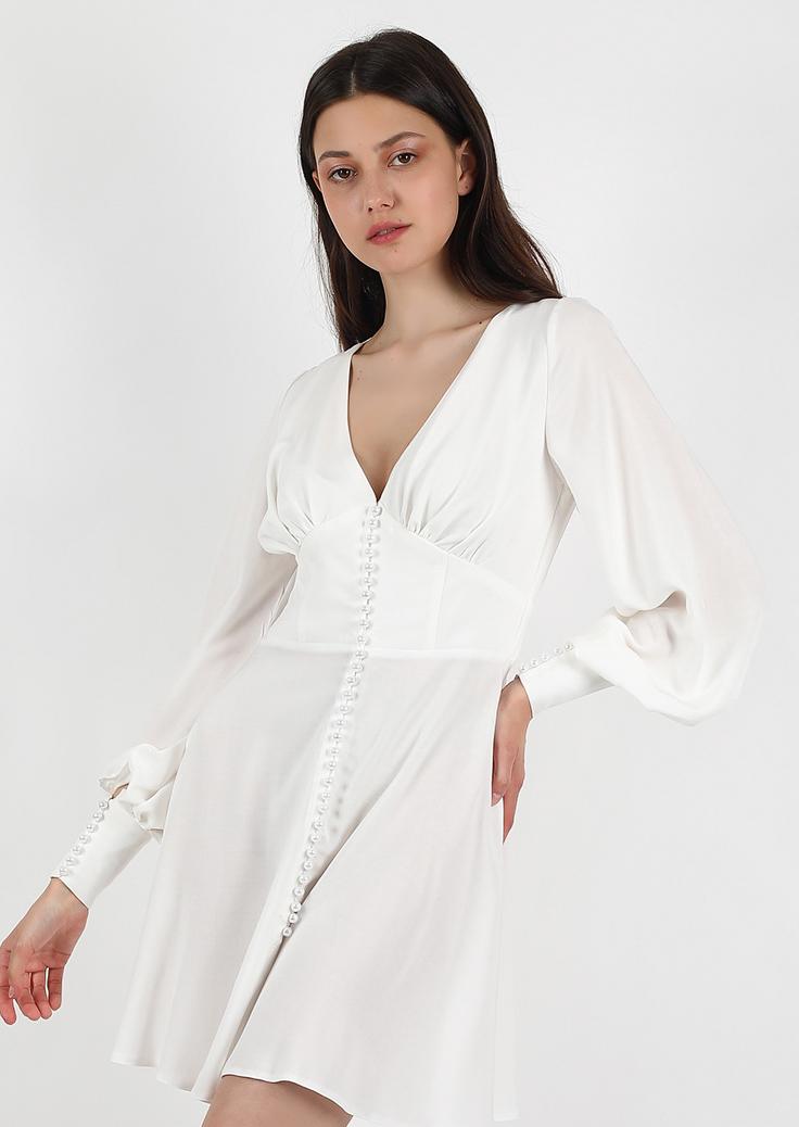 Pearl passion dress / white v neckline corset dress / simple wedding buttoned long sleeve dress / vintage grecian goddess short dress