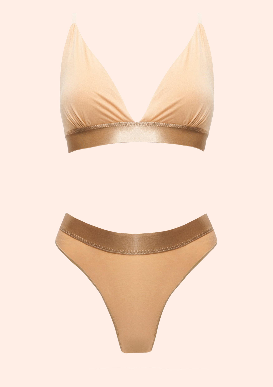 Cream brulee lingerie set beige top and panties