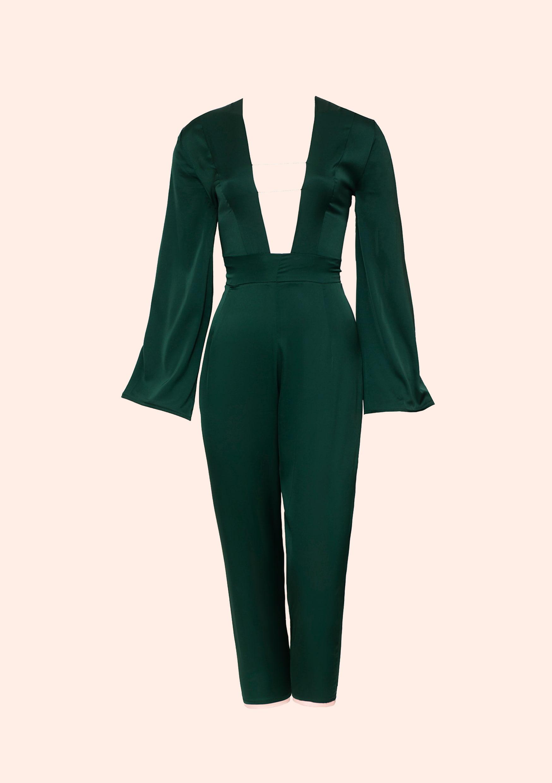 Emerald silk jumpsuit