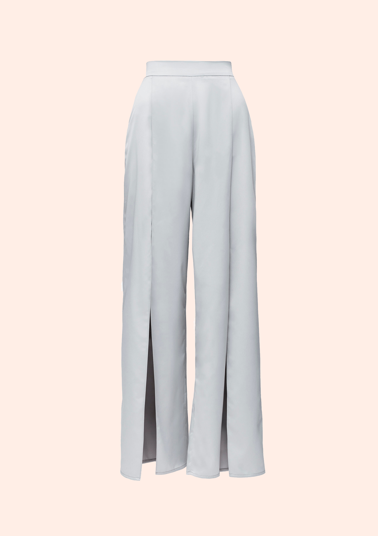 Silk step pants / satin sleep pants with deep slits on both legs / extravagant gray pants for night date / satin nightgrown pajama set