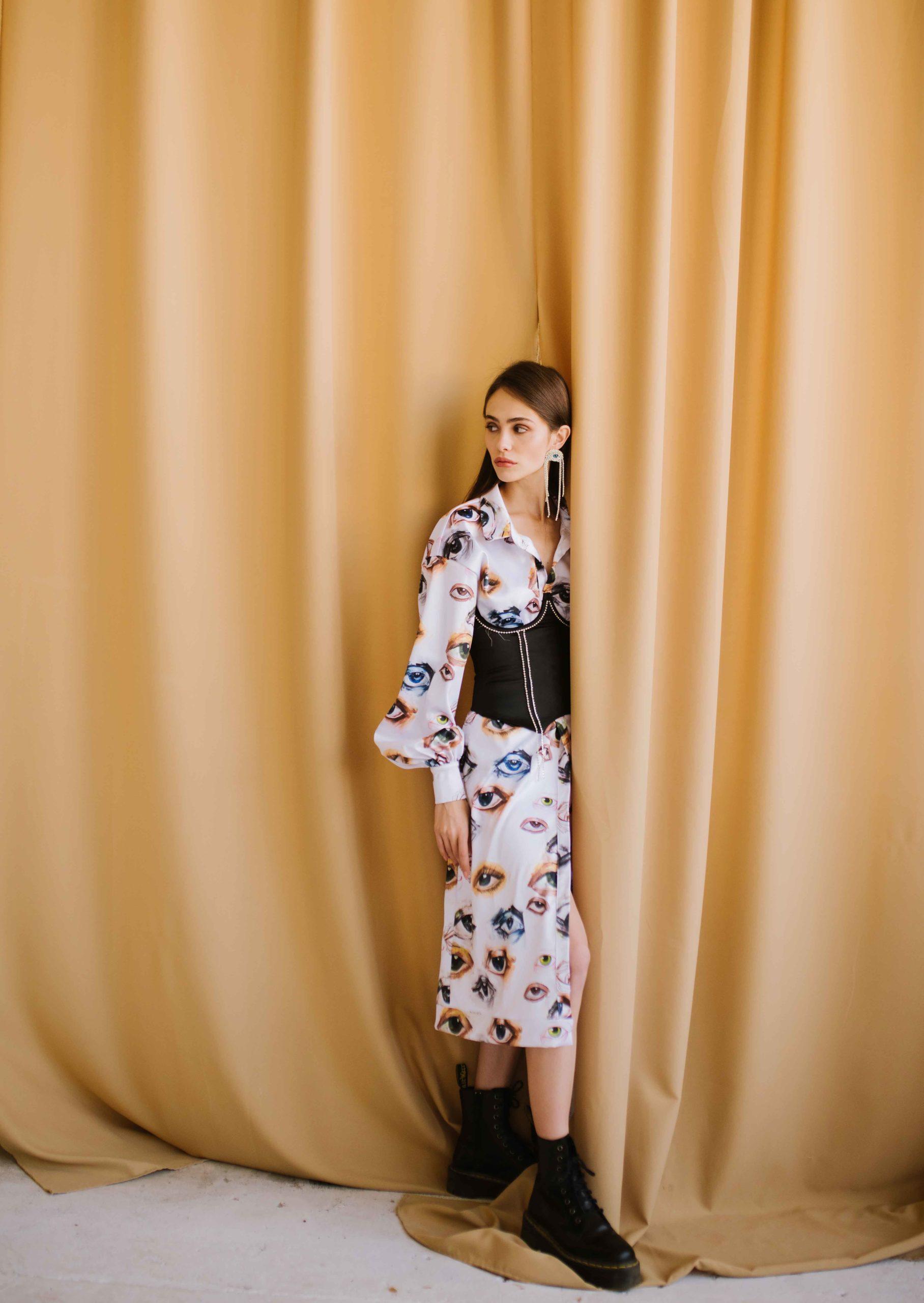 Eye coctail silk dress