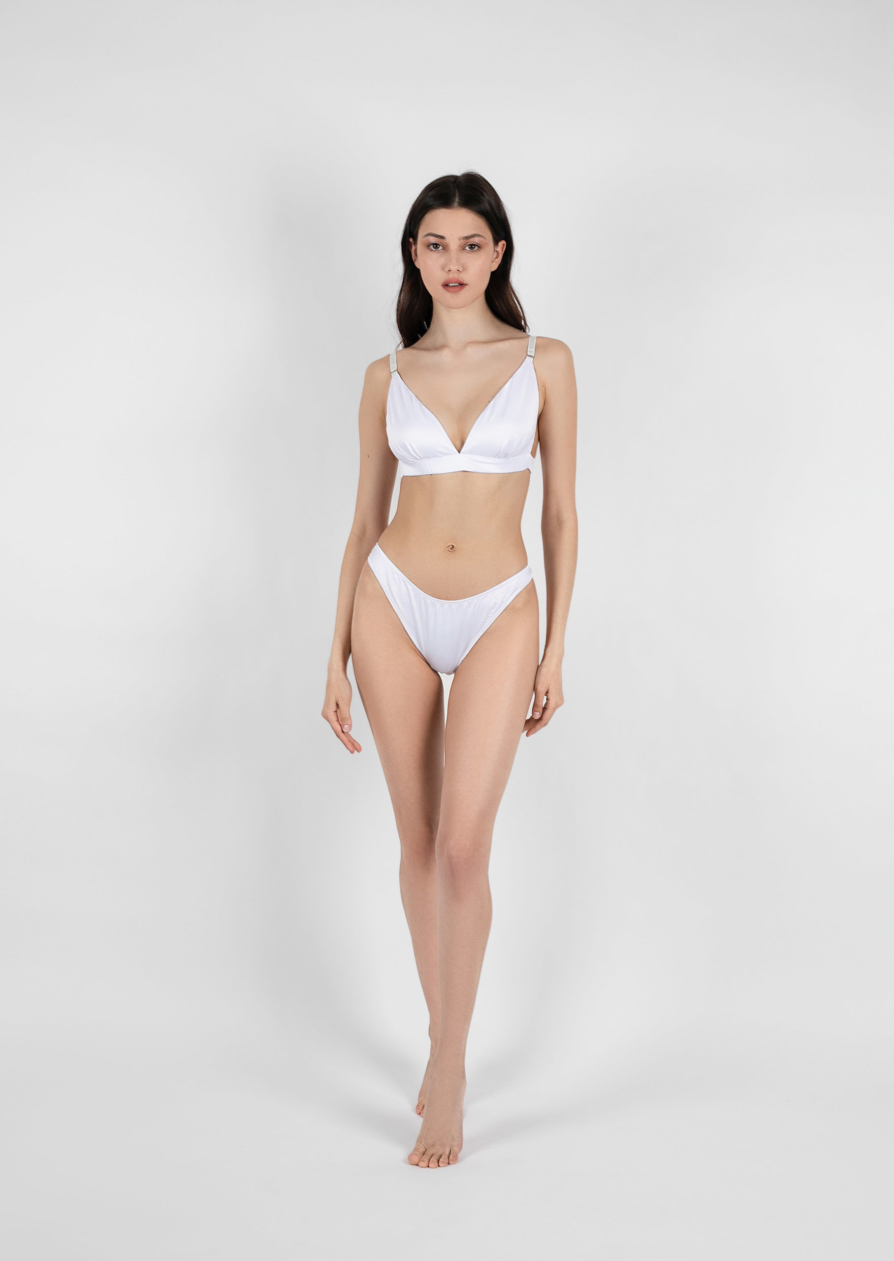 Coconut milk lingerie set / white satin non wired triangle bra with straps and thong / silk cupless bra with removable feathers and panties