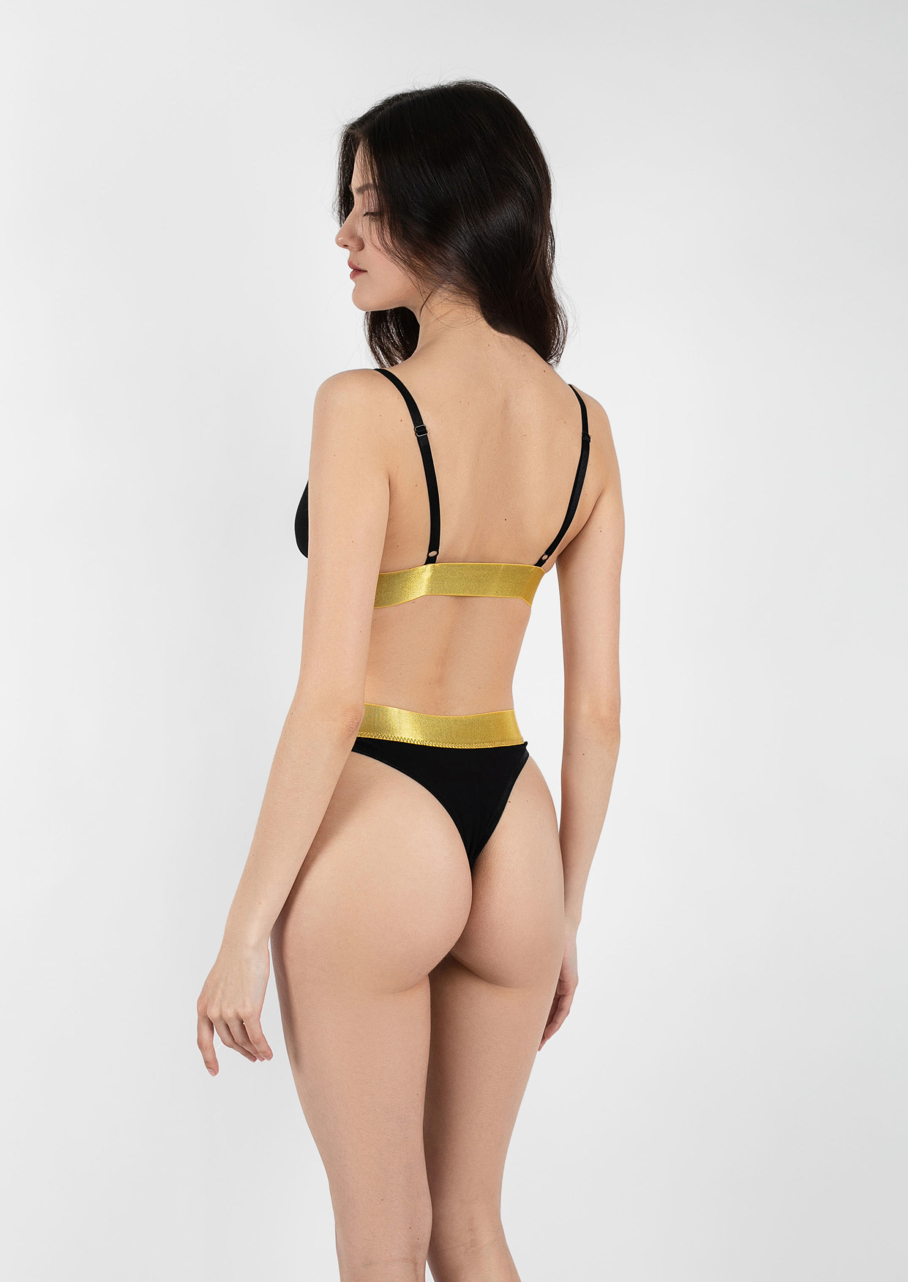 Gold line lingerie set / sexy cotton golden black lingerie / organic non wired bra with high or low waist panties / erotic pure underwear