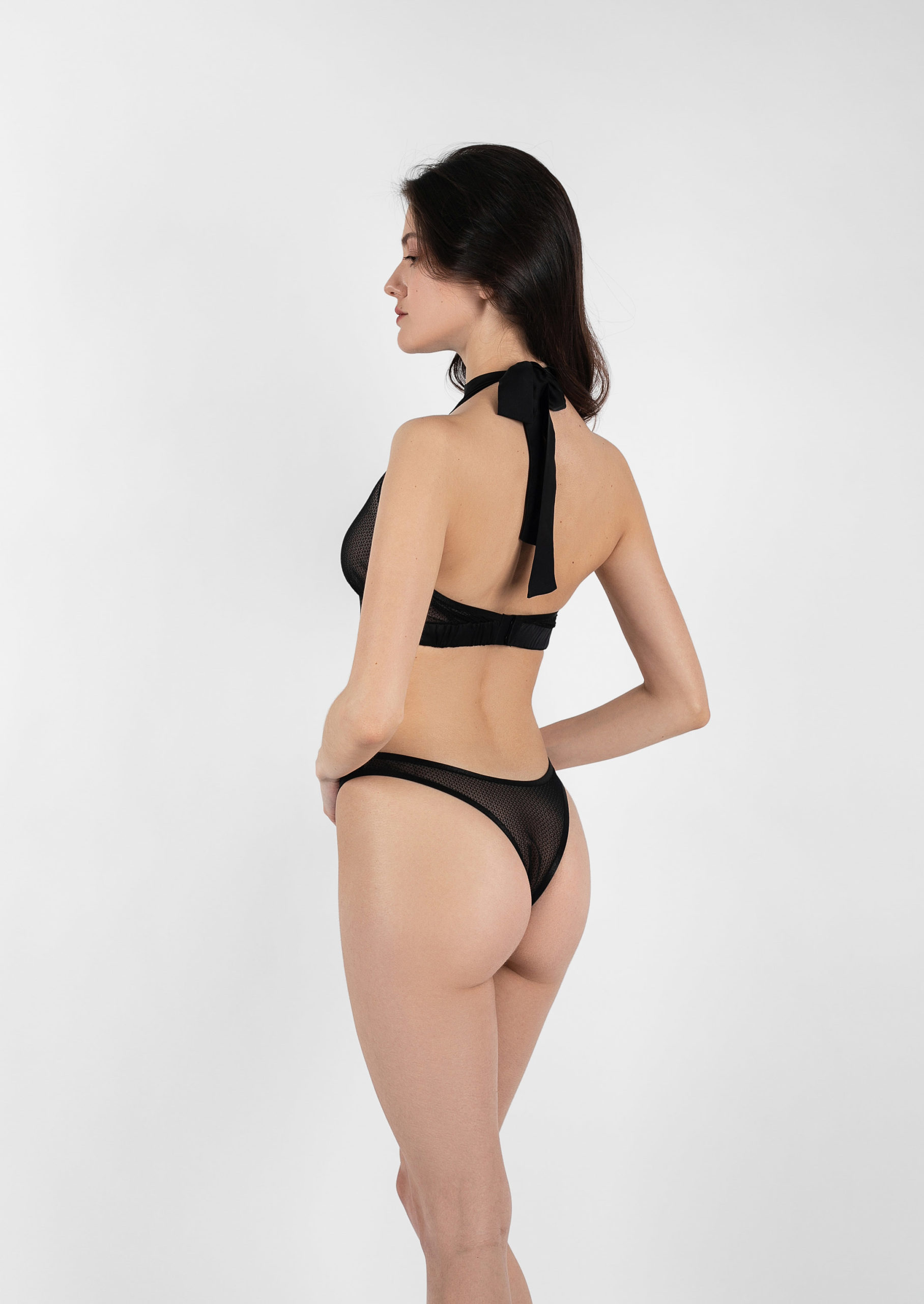Mystery lingerie set / sexy black strappy lingerie with garter belt / transparent panties with underwired bra with high waist belt