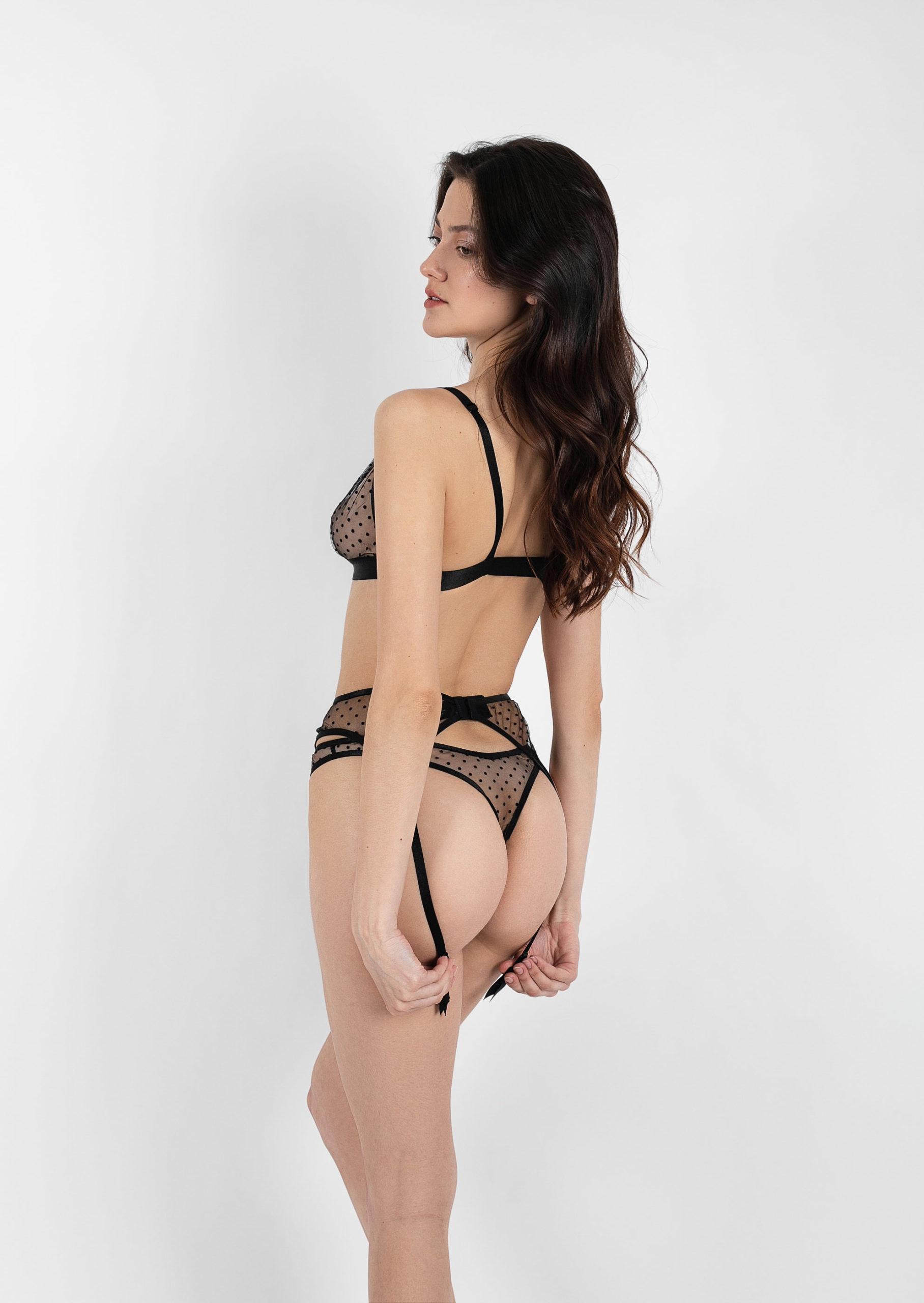 Flirt lingerie set / сlear black lingerie with polka dot with garter belt / sexy transparent lingerie / non wired bra with high waist belt