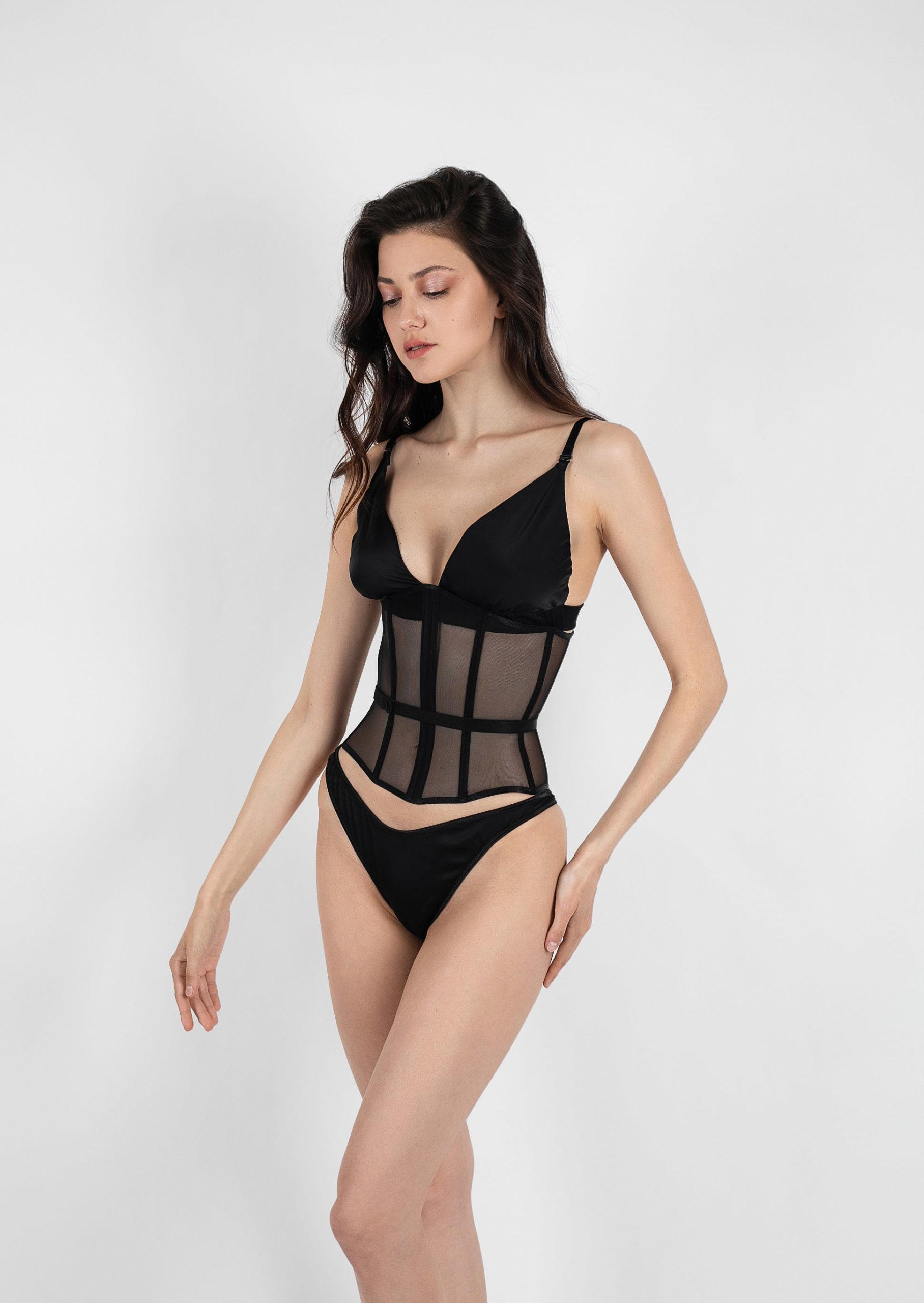 Black underbust corset / hourglass steel boned corset / vintage renaissance lace up corset top / sexy transparent corset belt for woman