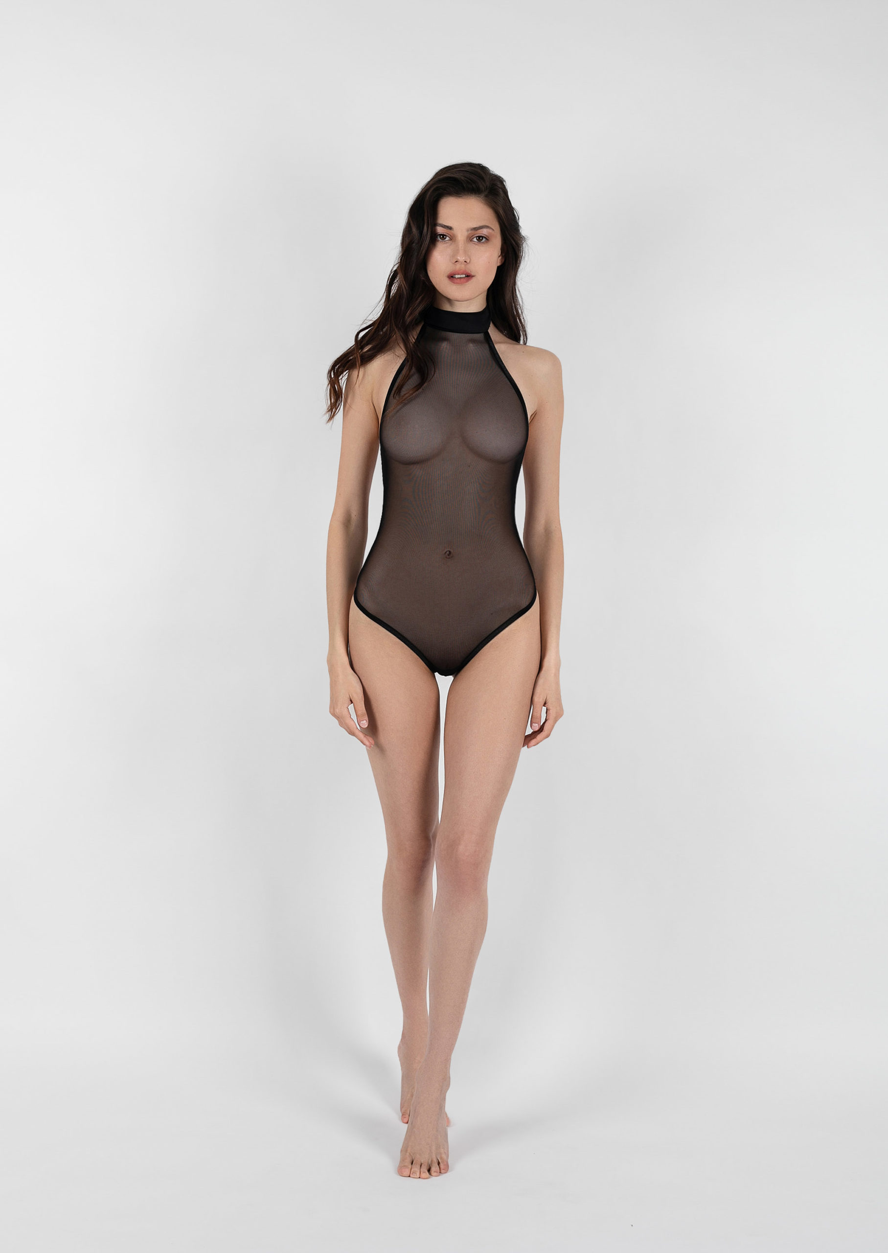 Solo body / black net bodysuit / sexy women's body / sheer black sleeveless bodysuit / clear transparemt body / erotic lingerie