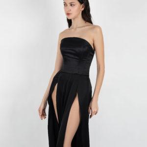 Top black corset hourglass steel boned corset / vintage renaissance lace up corset top
