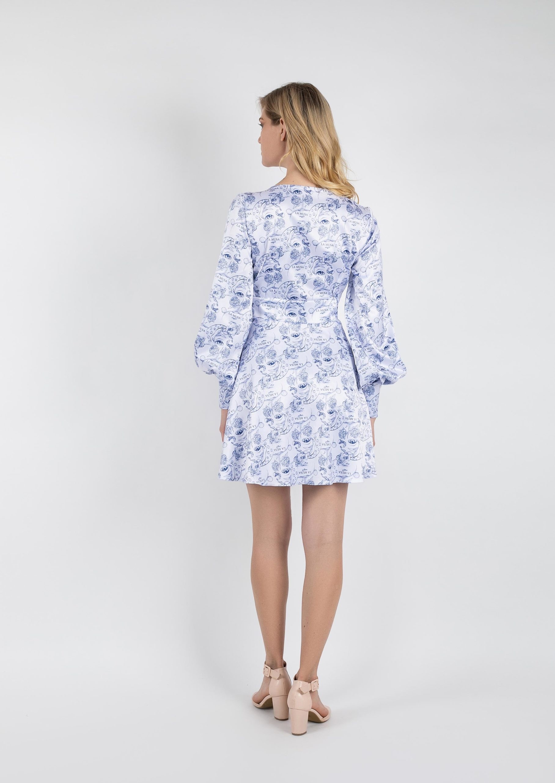 Porcelain passion dress / white neckline dress with blue print / wedding bridesmaid long sleeve dress / vintage grecian goddess short dress