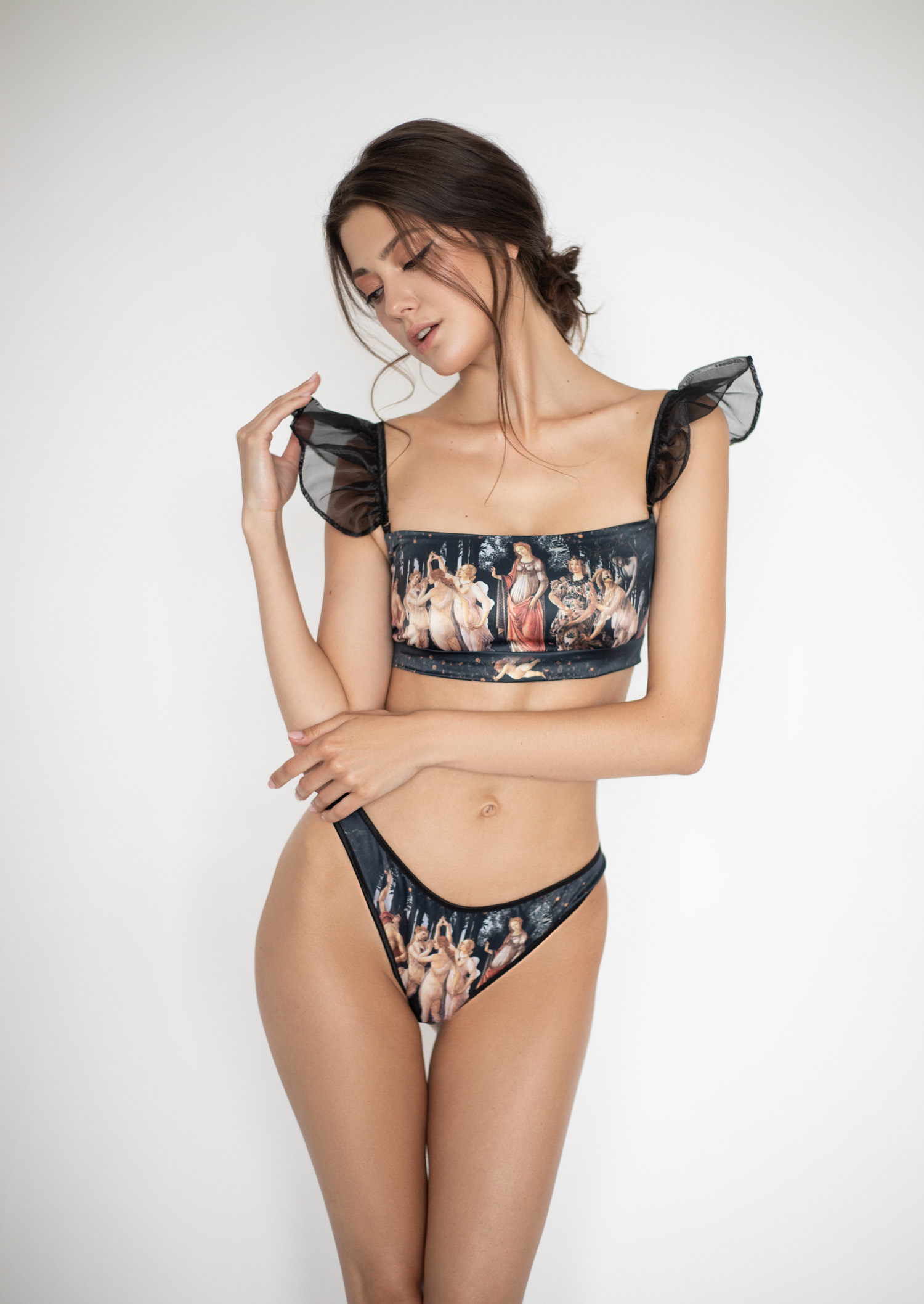 Primavera printed lingerie set / clear panties with underwired bra / historic renaissance underwear / transparent erotic lingerie set