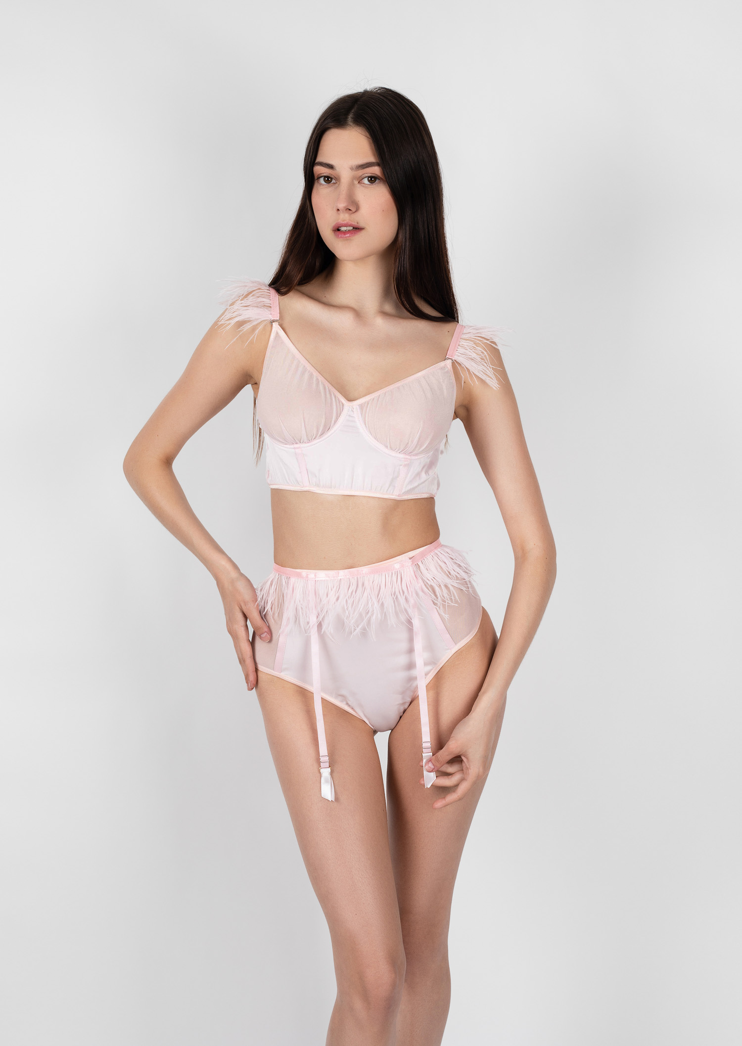 Flamingo lingerie set / clear pink erotic lingerie with garter belt / transparent underwired bra with high waist panties and feathers