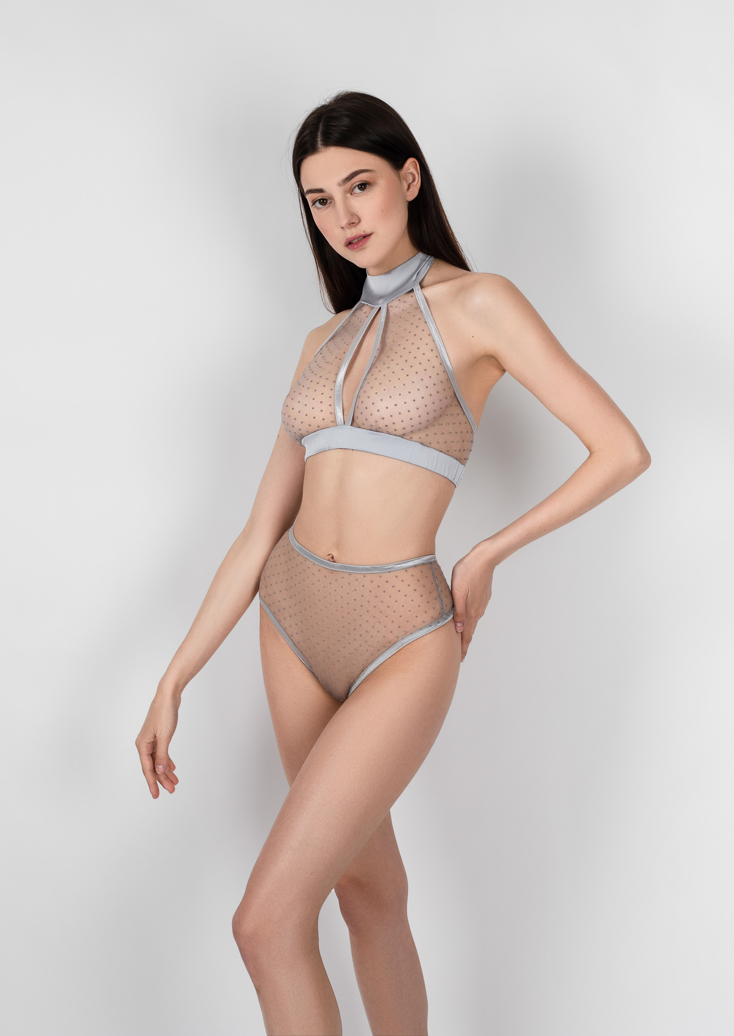 Sexy grey polka dot lingerie set / clear panties with underwired bra / sheer renaissance underwear / transparent erotic lingerie set