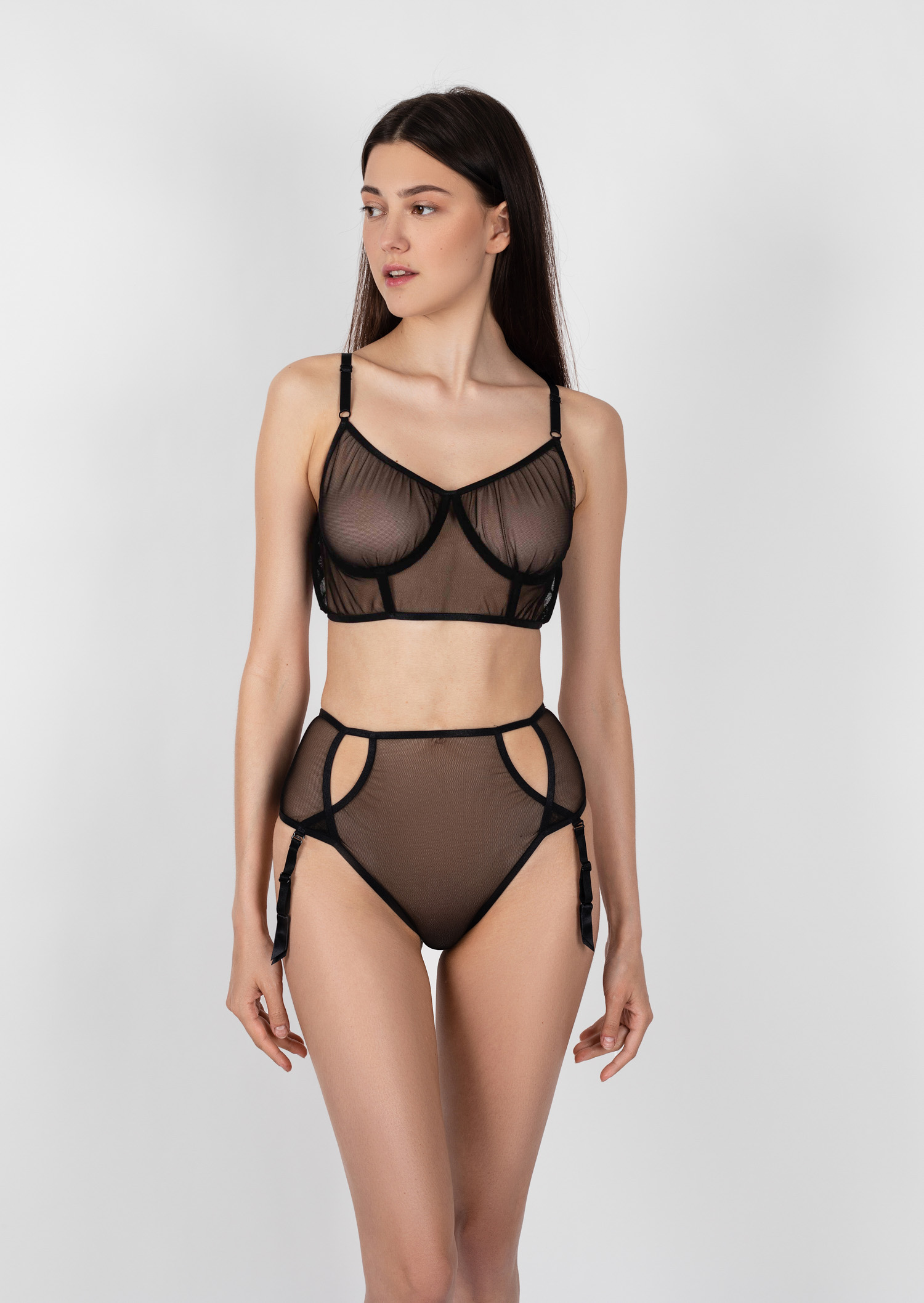 Sonata lingerie set / erotic clear black lingerie with straps / sexy transparent non wired bra with high waist belt and high waist panties