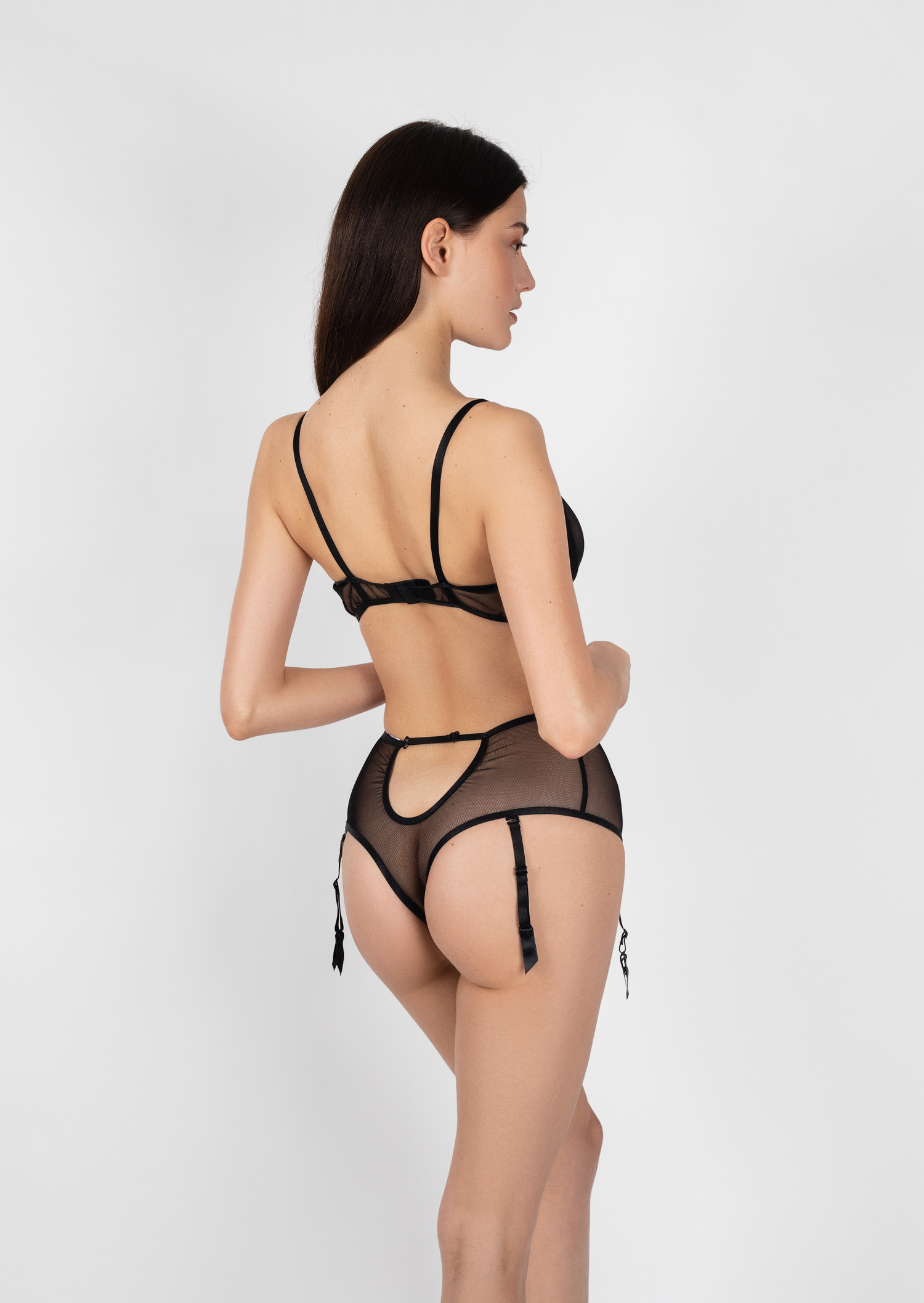 Euphoria lingerie set / transparent sexy black lingerie with garter belt / sheer panties with underwired bra / strappy push up underwear