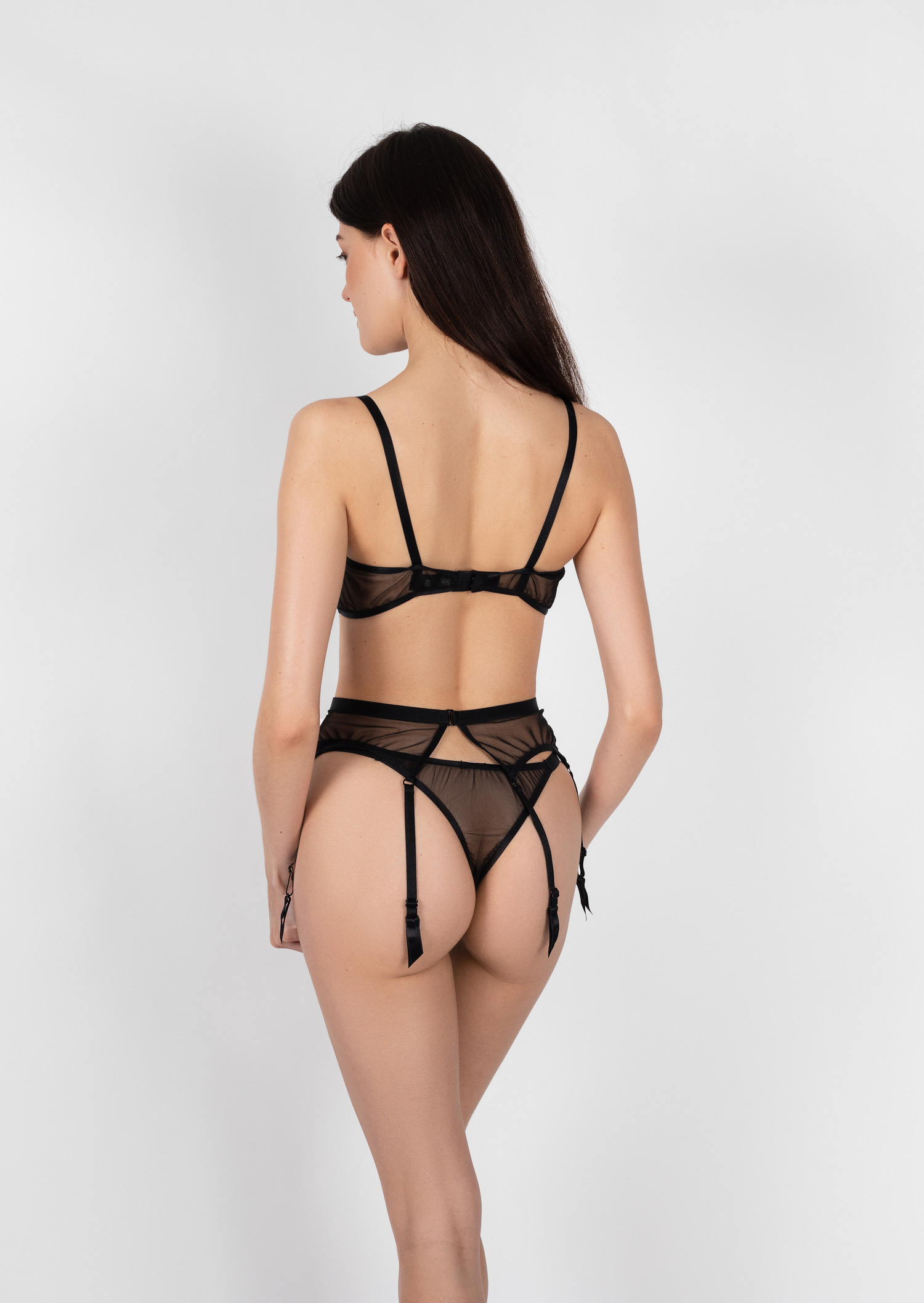 Poema lingerie set / transparent sexy black lingerie with garter belt / sheer underwired bra with high waist belt and thong panties