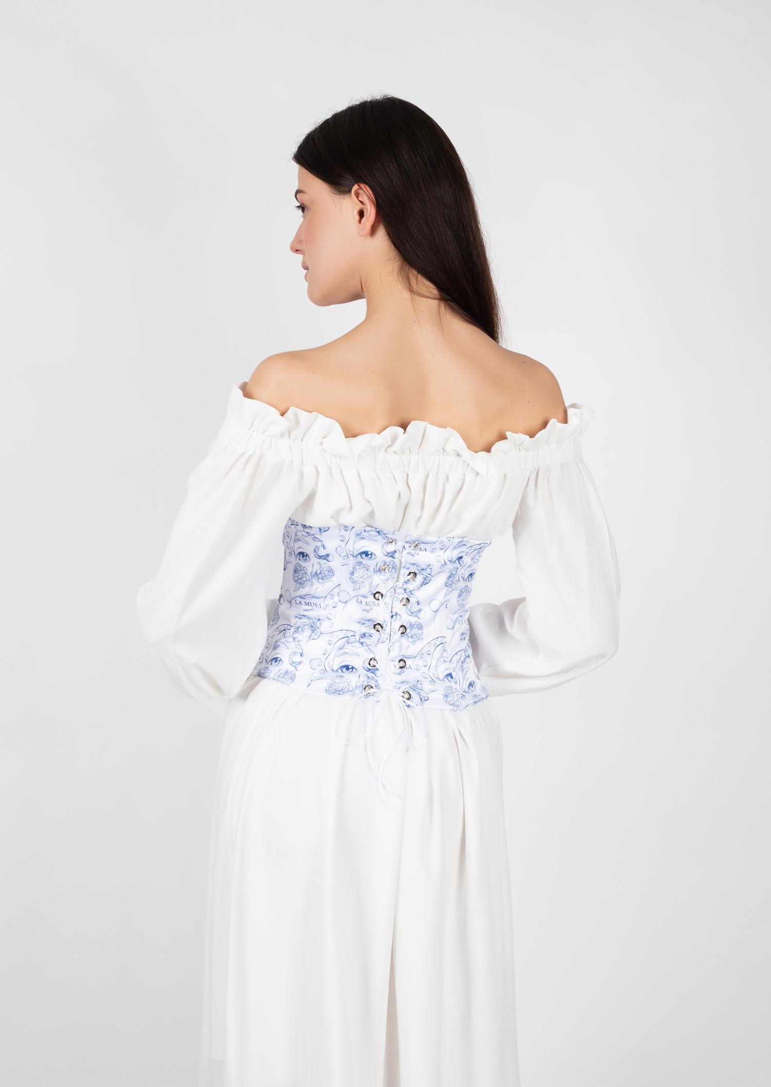 blue porcelain underbust corset historical vintage