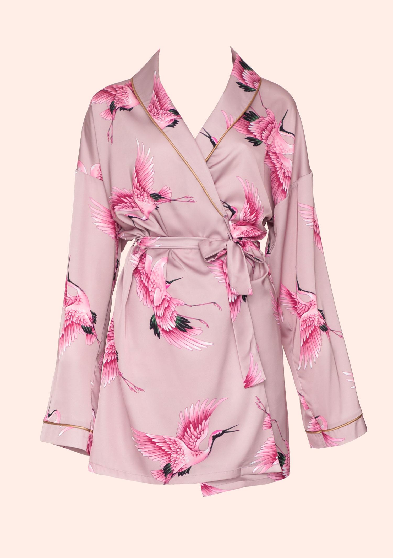 Rose gold bird kimono / pink satin kimono with feathers / classic organic nightgown robe for women / rose elegant long night sleepwear