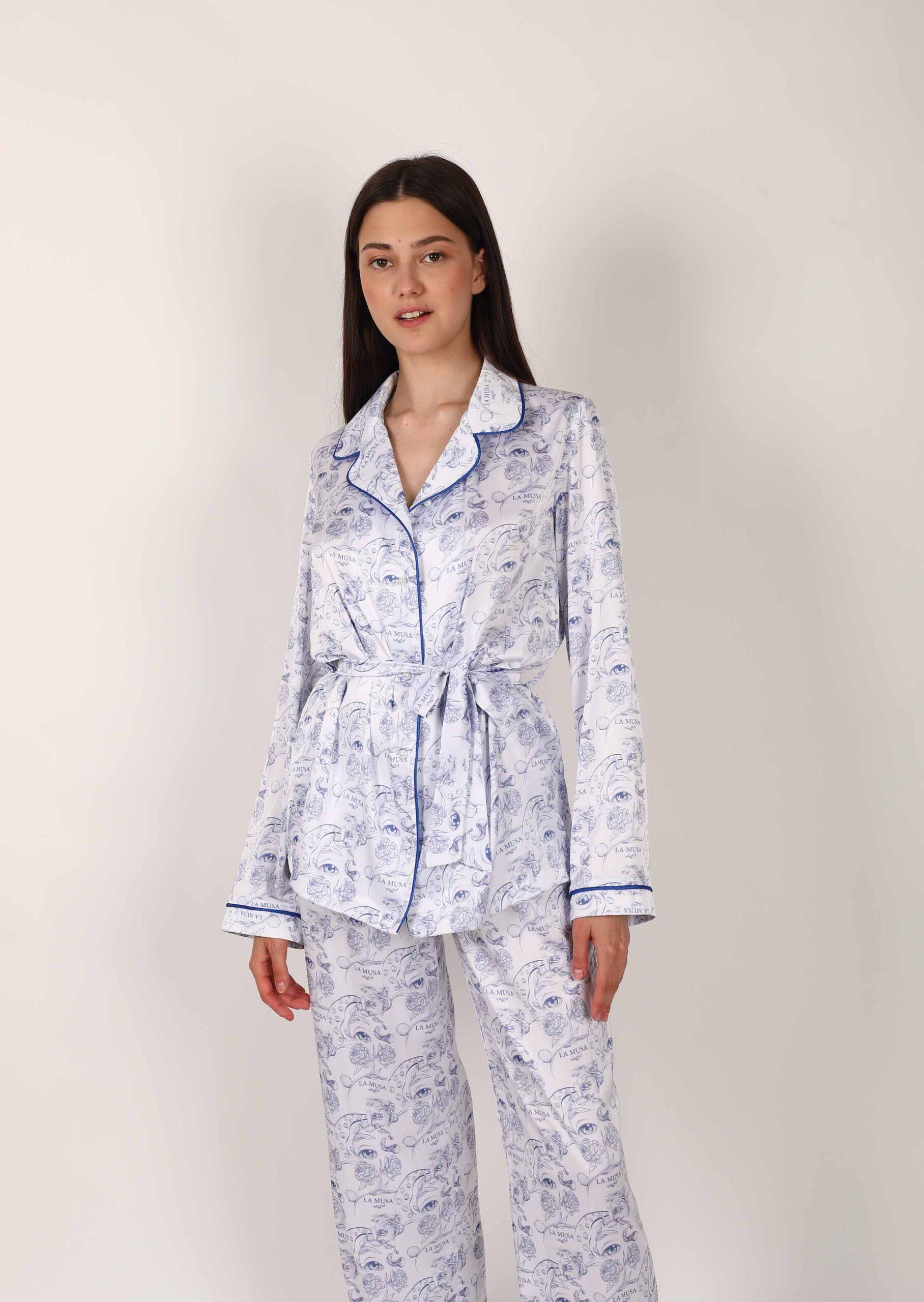 Porcelain loungewear set / white pajama with blue print / elegant satin women sleepwear with shirt and pants / organic pattern nightgrown